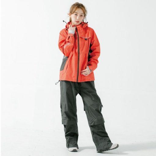 G.T多功能性兩件式風雨衣-硃砂紅-1